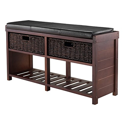 Winsome Wood Colin Cushion Bench with Baskets (Storage Bench With Baskets compare prices)