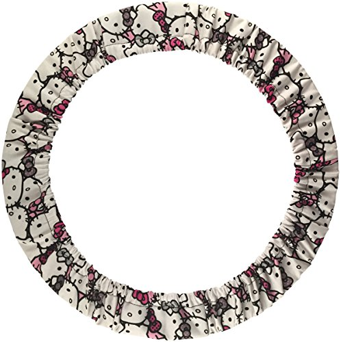 Hello Kitty Faces Pink Grey Red Bows Novelty Print Soft Stretchy Steering Wheel Cover (Steering Wheel Cover Pink Bow compare prices)