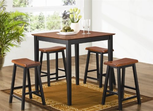 Buy Low Price Coaster 5pc Counter Height Dining Table and Stools Pub Set Two Tones Finish (VF_150293N)