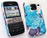 EMARTBUY NOKIA E5 TEXTURED BLOSSOMED BLUE CLIP ON PROTECTION CASE/COVER/SKIN