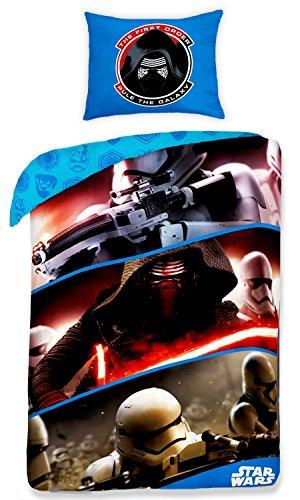 KYLO REN e TRUPPE FIRST ORDER Set LETTO 100% COTONE Copripiumino Federa REVERSIBILE 160x200cm UFFICIALE Originale Star Wars VII 7