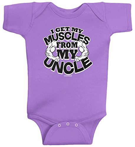 Threadrock Baby Girls' I Get My Muscles from My Uncle Infant Bodysuit 6M Lavender (Muscle Suits)