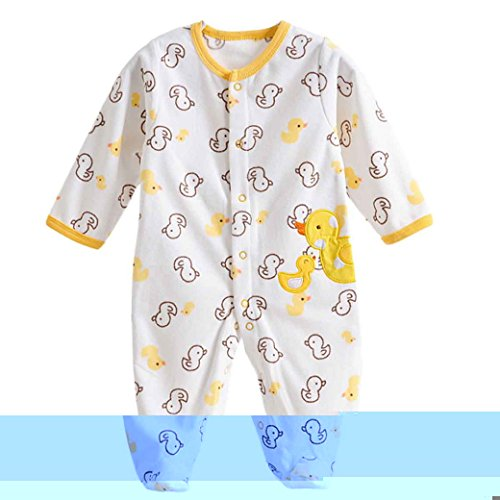 Baby Footie Romper Newborn Pajamas Sleep & Play Outfit Jumpsuit Fleece Bodysuit Snug Fit Sleepwear Snap Up Winter Layette Coveralls Yellow Duck 0-3Months/59cm