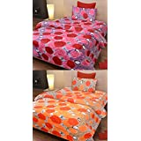 HOME SKIES 120 TC 100% Cotton Multicolor Printed Single Bedsheet With Pillow Cover ( Set Of 2)