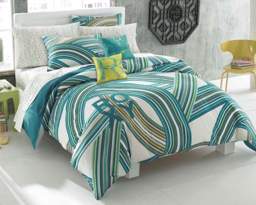 Roxy Teen Girls Teal Aqua Striped Swirls Comforter Set