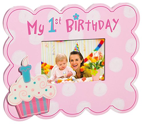 Pink My First Birthday Cupcake 4X6 Picture Frame - 1