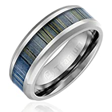 buy 8Mm Comfort Fit Titanium Wedding Band | Engagement Ring With Black And Gray Zebra Wood Inlay | Beveled Edges [Size 8]