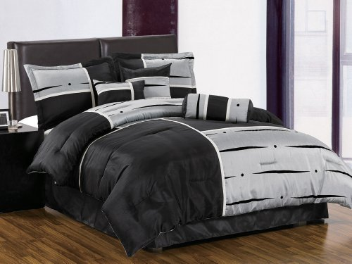 7 Pieces Modern Black , Light Grey, and Beige Patchwork Flocking Comforter Set Bed-in-a-bag Queen Size Bedding