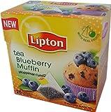 Lipton Black Tea - Blueberry Muffin - Premium Pyramid Tea Bags (20 Count Box) [PACK OF 3]