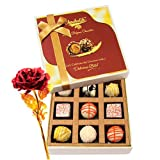 Stunning Collection Of White Chocolates With 24k Red Gold Rose - Chocholik Luxury Chocolates