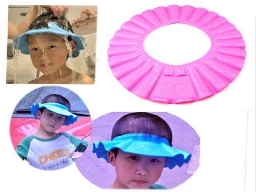 Soft Baby Kids Children Shampoo Bath Shower Cap Hat Wash Hair Shield (Pink)