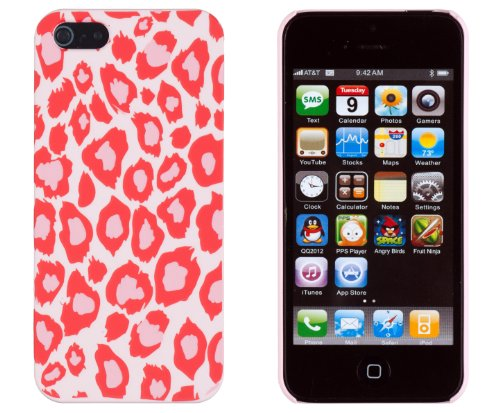 Coral Leopard Embossed Slim Fit Hard Case For Apple Iphone 5S / 5 (At&T, Verizon, Sprint, International) - Includes Dandycase Keychain Screen Cleaner [Retail Packaging By Dandycase] front-787130