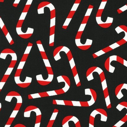 """44"""" Wide Kaufman Candy Cane Black Cotton Fabric By The Half Yard front-1081233"""