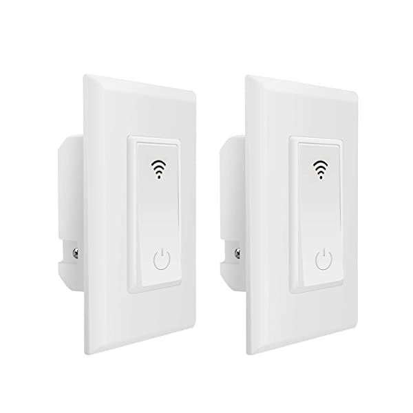 Xenon Smart Switch,Wi-Fi Switch,Light Switch,Control Lighting from Anywhere,Compatible with Alexa and Goodle Assistant,No Hub Required,Timing Function,2 Pack (Color: White)