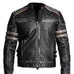 Men's Biker Vintage Motorcycle Distressed Black Retro Leather Jacket