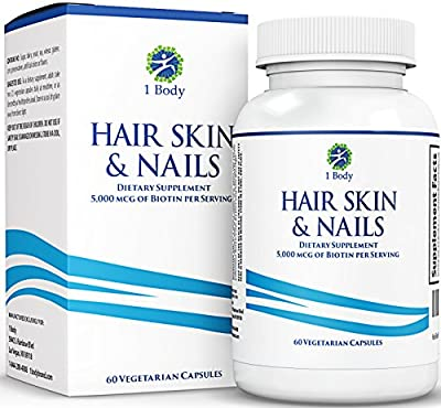 Hair, Skin, and Nails Supplement - Supports Hair Growth & Restoration - 5000 Mcg of Biotin - Unique Extra Strength Formula with 60 Vegetarian Capsules