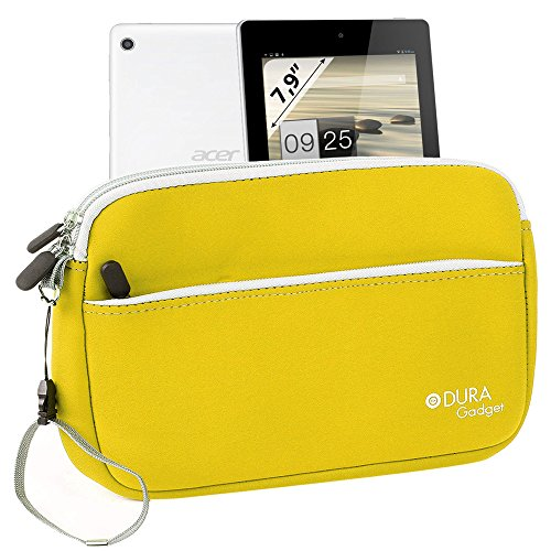 Duragadget Lemon Yellow 'Travel' Neoprene Case With Zipped Front Storage Compartment For Acer Iconia A1-810-L416 7.9-Inch 16 Gb Tablet