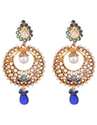 Young & Forever Diwali Special Festive Collection Blue Polki & Pearls Studded Designer Creasent Copper Dangler...