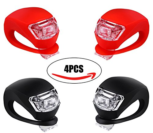 Bicycle Light Front and Rear Silicone LED Bike Light Set - Bike Headlight and Taillight,Waterproof & Safety Road,Mountain Bike Lights,Batteries Included,4 Pack (2pcs Red & 2pcs Black) (Bicycle Battery compare prices)