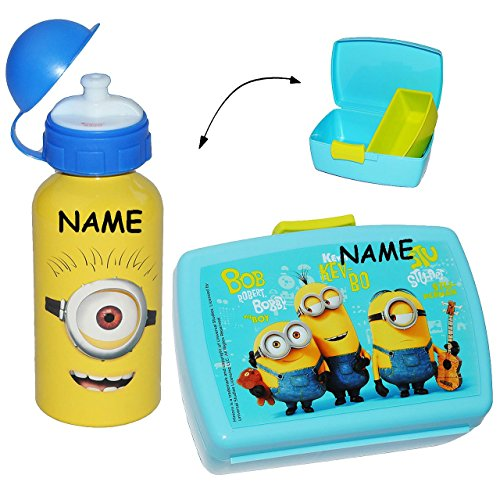 2-tlg-Set-Brotdose-Lunchbox-Trinkflasche-Minion-incl-Namen-Ich-einfach-unverbesserlich-mit-extra-Einsatz-herausnehmbaren-Fach-Brotbchse-Kche-Essen-fr-Mdchen-Jungen-Minions-Stuart-Tom-Steve-Mark-Kinder