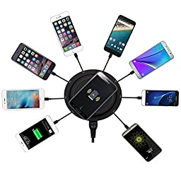 Wireless Charging Station, KeyEntre 9-in-1 Wireless Charging Pad with Fast Charging USB Ports and Type-C Port for Smartphones and Tablets (no Short Cables)