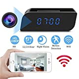 MINGYY Hidden Camera Clock HD 1080P WiFi Spy Camera Wireless Night Vision Camera Motion Activated Camcorder Photo Record Monitoring for Home Office Security Surveillance