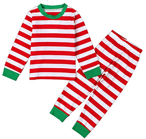 LQVOG Baby Boys Girls Long Sleeve Xmas Stripe Sleepwear Pants Pajamas Set