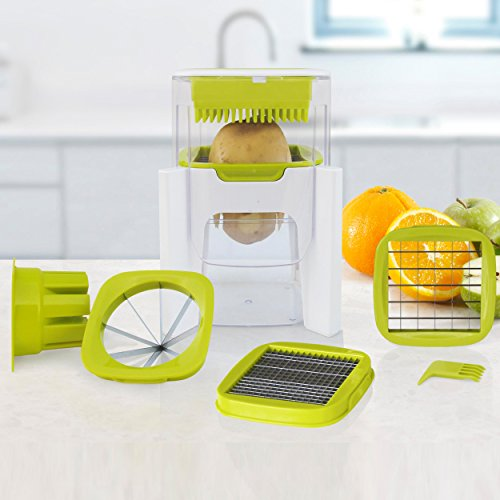 4 in 1 Wonder Chop - Chop, Dice, Fine Chopper and Fruit Wedger - 4 Interchangeable Blades - Compact Design - Perpetual Peeler and eBook included (Manual Potato Slicer compare prices)