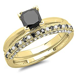 1.50 Carat (ctw) 14K Yellow Gold Princess Cut Black & Round White Diamond Ladies Bridal Solitaire Engagement Ring With Matching Millgrain Wedding Band Set 1 1/2 CT (Size 5)
