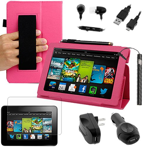 Review:  BIRUGEAR Slim Folding Leather Case & Charger, Screen Protector for All New Kindle Fire HD 7 Inch Tablet (2013 Release) ( Hot Pink, w/ HandStrap & Stand )