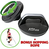 Elite Perfect Push Up Bars - Rotating (easier on the wrists) Push Up Stands with Free Skipping Rope