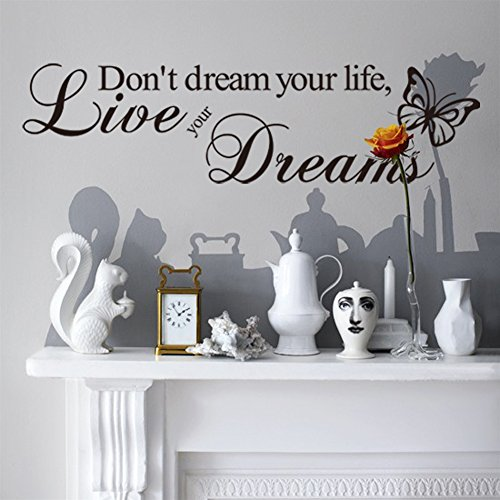 """Don't, motivo: Live Your Life Your Dreams """", adesivo da parete in vinile, arte murale, decorazione 8142, 57 x 15 cm"""