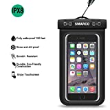 """SMARCO Waterproof Bag, Touch-Screen Clear Window PVC Pouch, Snap ABS Lock for Apple iPhone 6S 6,6S Plus, Samsung Galaxy S7, S6, HTC LG Sony Nokia Motorola up to 6.0"""" diagonal,IPX8 Certified-Black"""