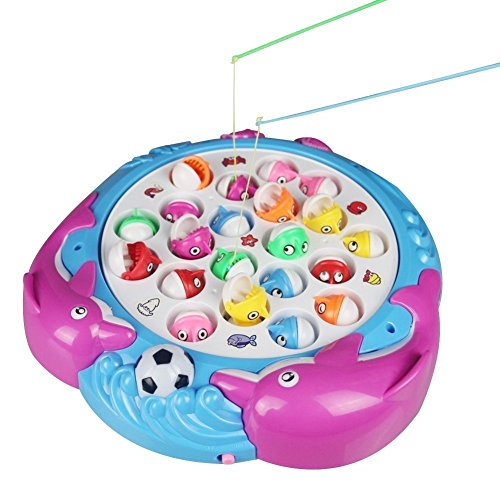 Fajiabao Giochi Musicali Gioco della Pesca Pesci con Canna e Luce Giocattoli Elettronici per Bambini da 3 Anni, Colore Casuale