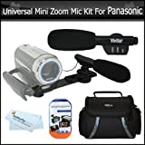 Universal Super Sound Mini Zoom Camcorder Directional Video Shotgun Microphone w/Mount + Deluxe Case + More For Panasonic HDC-HS900K HDC-SD90K HDC-TM90K HDC-TM900K HC-X900M HC-X900 HC-V700 HC-V700M HC-X920 HC-V720 Camcorder