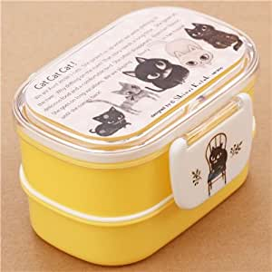 gelbe s e katzen tier bento box brotdose aus japan. Black Bedroom Furniture Sets. Home Design Ideas