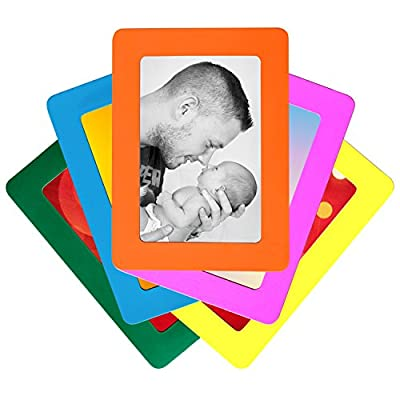 Set of 5 Colorful Magnetic Picture Frames by De Dazzle. Standard 4 x 6 Inch Postcard Size Photo Frames for Refrigerator. Cherish Memories of Family & Friends. Use at Home or Gift to Loved Ones Today!