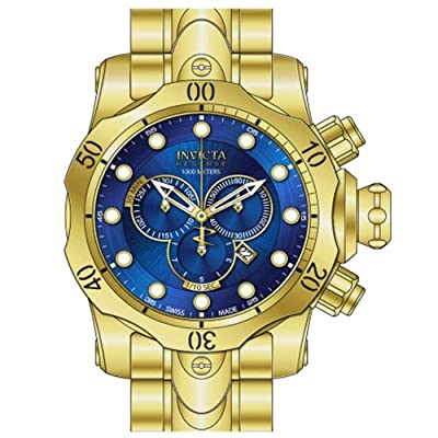 Invicta Venom Chronograph Blue Dial Gold Ion-plated Mens Watch 14504
