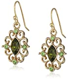 1928 Jewelry Gold-Tone Crystal Navette Drop Earrings