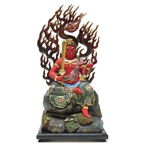 楠 彩色不動明王 坐像 45cm 木彫り 仏像
