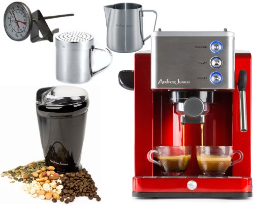 Andrew James Ultimate Coffee Package Including Espresso Machine,Coffee Grinder, Stainless Steel Jug, Chocolate Shaker and Milk Frothing Thermometer