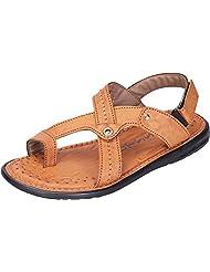 DATZZ Men's Tan Denim Sandals - B018U62FNK