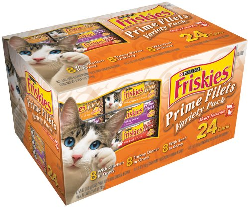 Friskies Prime Filets Meaty Selections 24-Count Variety Pack, Poultry & Beef, 8.25-Pound Box