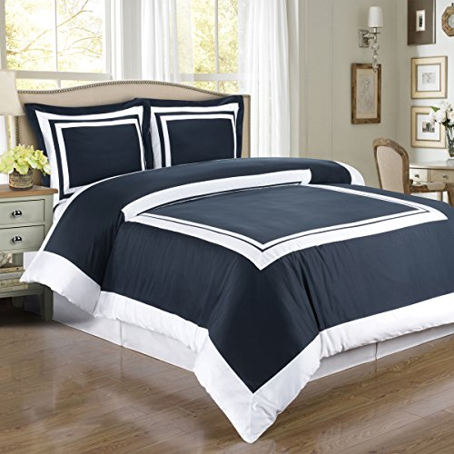 Hotel Navy and White 3-Piece Full / Queen Duvet-Cover-Set, 100-Percent Egyptian-Cotton, 300-Thread-Count