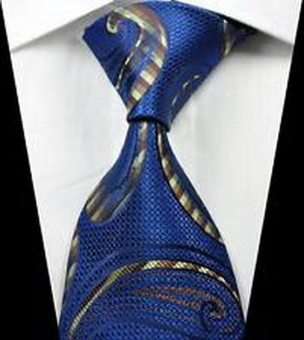 jacob alex #38011 Classic Necktie Paisleys Blue Beige Brown JACQUARD WOVEN 100% Silk Men's Tie