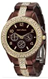 Womens Chocolate Brown Analog Watch Rhinestone Accent Bracelet Jade LeBaum - JB202747G