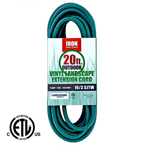 Iron Forge Cable 16/3 SJTW Green Extension Cable with 3 Prong, 20 Feet (Dryer Extension 3 Prong compare prices)