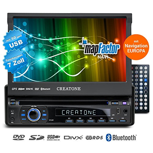 1DIN-Autoradio-CREATONE-CTN-8422D26-mit-GPS-Navigation-Bluetooth-DVD-Player-Touchscreen-und-USBSD-Funktion