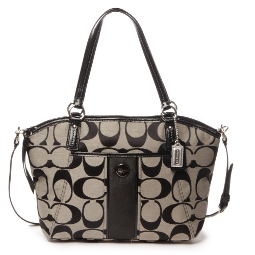 Coach Signature Stripe Pocket Tote Black & White Handbag