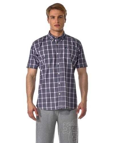 Lonsdale Slim Fit Camicia Manica Corta Richy [Nero/Rosso/Bianco]